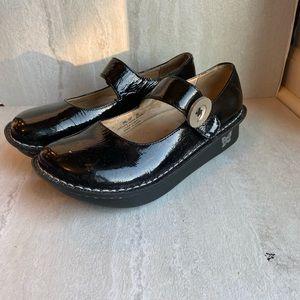 Alegria Mary Jane clogs mules black leather 35